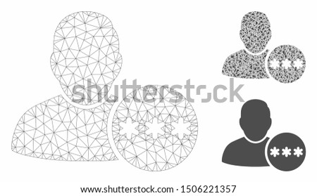 Mesh user hidden password model with triangle mosaic icon. Wire carcass polygonal mesh of user hidden password. Vector mosaic of triangle elements in variable sizes, and color shades.