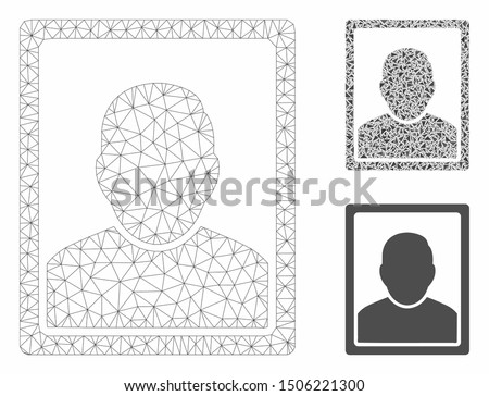 Mesh user image model with triangle mosaic icon. Wire frame polygonal mesh of user image. Vector mosaic of triangle elements in various sizes, and color shades. Abstract flat mesh user image,