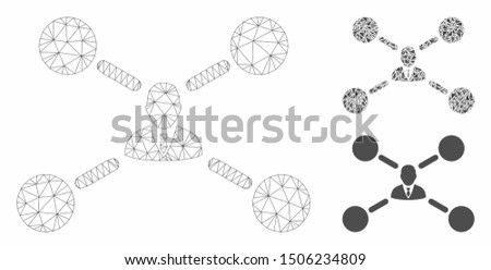 Mesh user links model with triangle mosaic icon. Wire carcass triangular mesh of user links. Vector mosaic of triangles in different sizes, and color tones. Abstract 2d mesh user links,