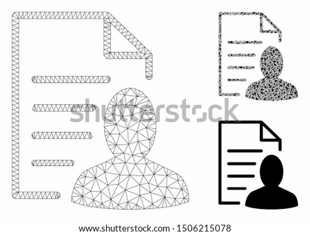 Mesh user list page model with triangle mosaic icon. Wire frame triangular mesh of user list page. Vector mosaic of triangle parts in various sizes, and color hues. Abstract 2d mesh user list page,