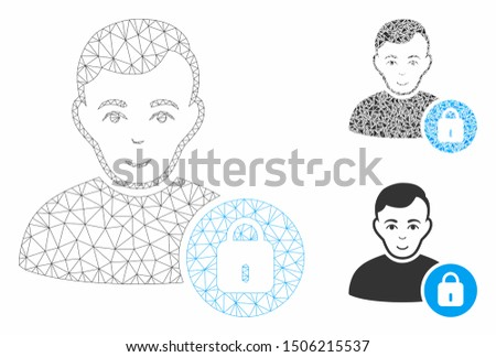Mesh user lock model with triangle mosaic icon. Wire carcass triangular mesh of user lock. Vector collage of triangle elements in various sizes, and color tinges. Abstract flat mesh user lock,