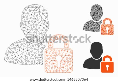 Mesh user locked model with triangle mosaic icon. Wire frame triangular mesh of user locked. Vector collage of triangle parts in different sizes, and color tints. Abstract flat mesh user locked,