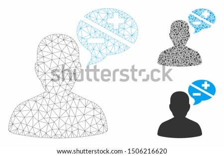 Mesh user opinion model with triangle mosaic icon. Wire carcass polygonal mesh of user opinion. Vector composition of triangles in variable sizes, and color tinges. Abstract flat mesh user opinion,