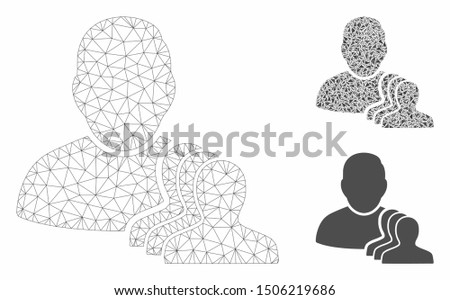 Mesh user pawns model with triangle mosaic icon. Wire carcass polygonal mesh of user pawns. Vector composition of triangle parts in various sizes, and color tinges. Abstract 2d mesh user pawns,