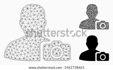 Mesh user photo model with triangle mosaic icon. Wire frame triangular mesh of user photo. Vector composition of triangle parts in various sizes, and color tones. Abstract flat mesh user photo,