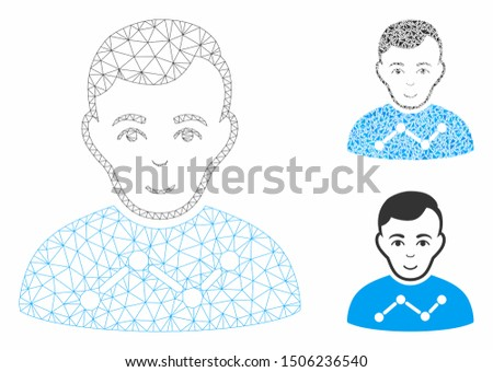 Mesh user stats model with triangle mosaic icon. Wire frame polygonal mesh of user stats. Vector composition of triangle parts in various sizes, and color tints. Abstract flat mesh user stats,