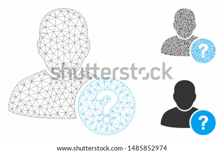Mesh user status model with triangle mosaic icon. Wire carcass triangular mesh of user status. Vector mosaic of triangles in variable sizes, and color tinges. Abstract 2d mesh user status,