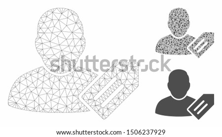 Mesh user tag model with triangle mosaic icon. Wire frame triangular mesh of user tag. Vector composition of triangle parts in variable sizes, and color tones. Abstract 2d mesh user tag,
