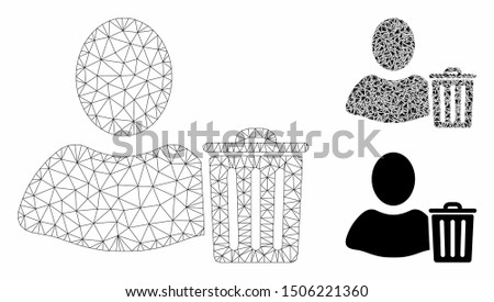 Mesh user trash model with triangle mosaic icon. Wire carcass polygonal mesh of user trash. Vector composition of triangle parts in different sizes, and color shades. Abstract flat mesh user trash,