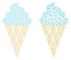 Mesh vector icecream icon. Mesh wireframe icecream image in lowpoly style with connected triangles, points and linear items. Mesh illustration of triangulated icecream, on a white background.