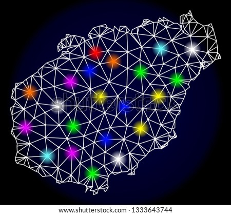 Mesh vector map of Hainan Island with glare effect on a dark background. Abstract lines, triangles, light colorful spots and points forms map of Hainan Island.
