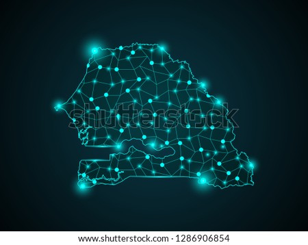 Mesh vector map of Senegal with glare effect. Light spots have bright spectrum colors. Abstract lines, triangles, light spots and points on a dark background with map of Senegal. - Vector