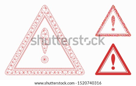 Mesh warning triangle model with triangle mosaic icon. Wire carcass triangular mesh of warning triangle. Vector mosaic of triangle parts in various sizes, and color shades.