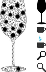 Mesh wine glass polygonal 2d vector illustration, with black infection elements. Carcass model is based on wine glass flat icon, with infection nodes and triangle mesh.