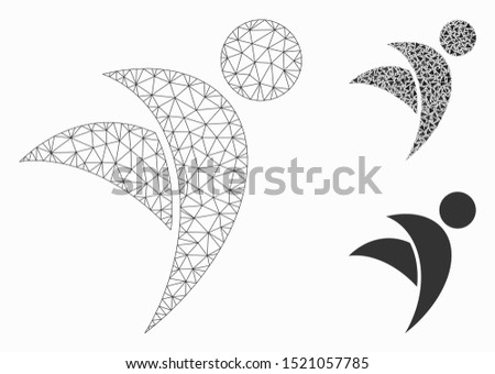 Mesh winged man model with triangle mosaic icon. Wire frame triangular mesh of winged man. Vector composition of triangle parts in variable sizes, and color tones. Abstract flat mesh winged man,