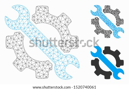 Mesh wrench and gear setup tools model with triangle mosaic icon. Wire carcass polygonal network of wrench and gear setup tools. Vector collage of triangle parts in different sizes, and color hues.