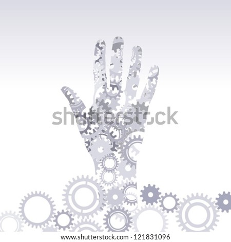 meshing gear with hand - stock vector