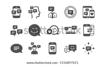 Message and Communication icons. Group chat, Speech bubble and Sms. Contact classic icon set. Quality set. Vector