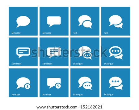 Message bubble icons on blue background. Vector illustration.