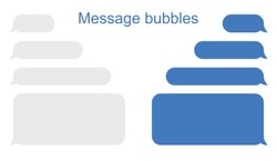 Message bubbles icons. Design for chat. Vector message tablog. Vectone graphics on a white background in a flat style for web sites and advertising big boards
