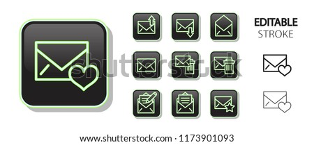 Message buttons. Post letter, envelope, mail, email. Neon icon set. Glossy web application icons. Editable stroke. Vector illustration.