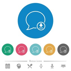 Message download outline flat white icons on round color backgrounds. 6 bonus icons included.