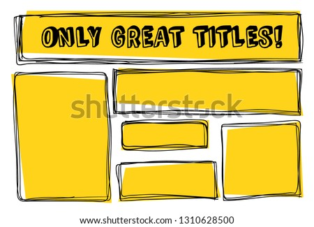 Message frames with yellow background. Great sketchy bubbles for you titles! Quote boxes, Vector objects