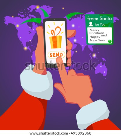 Message from Santa Claus. Greeting text. Merry Christmas