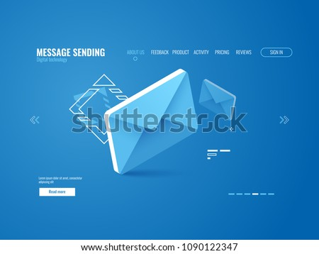 Message icon, email sending concept, online advertising, web page template isometric vector