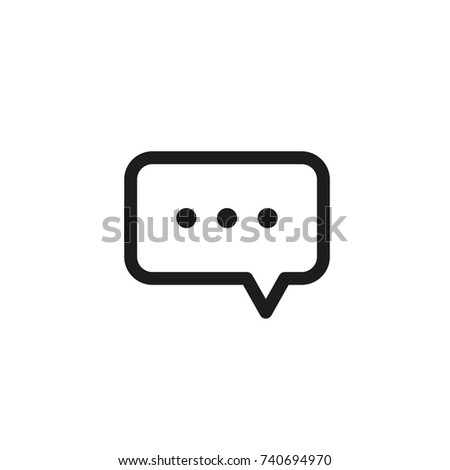 message icon thin line bubble text thin line vector web banner texting phone mobile telephone points contact chat messenger icon online flat text frame background square hello name talk