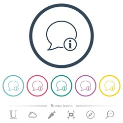 Message info outline flat color icons in round outlines. 6 bonus icons included.