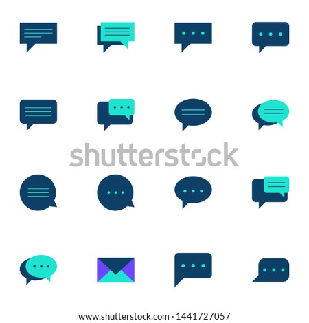 message, message, sms, chat, chatting, talk, inbox blue flat icons set. simple communication line icons symbol vector illustration