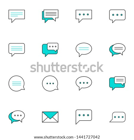 message, message, sms, chat, chatting, talk, inbox filled line blue icons set. simple colored line icons symbol vector illustration