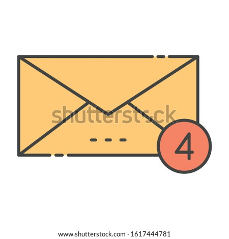 Message notification icon in flat design, alert messages concept