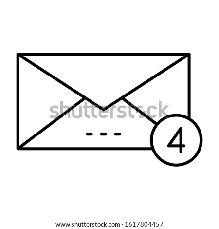 Message notification icon in line design, alert messages concept