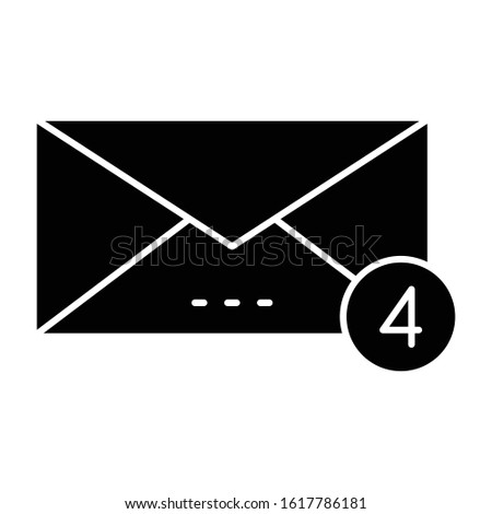 Message notification icon in solid design, alert messages concept