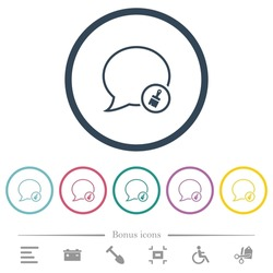 Message paste outline flat color icons in round outlines. 6 bonus icons included.