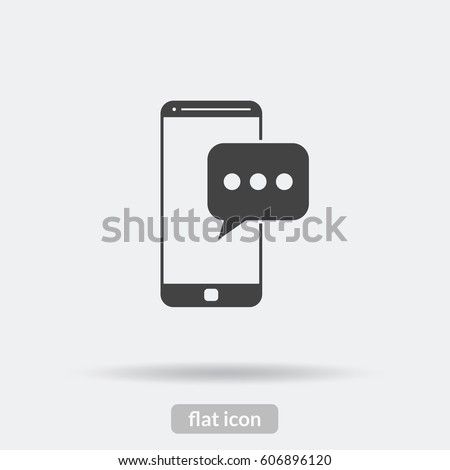 Message phone icon, Black vector is type EPS10.