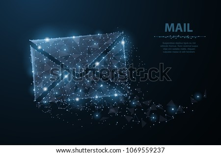 Message. Polygonal wireframe mesh looks like constellation on dark blue night sky with dots and stars. Mail, Letter, email or other concept illustration or background