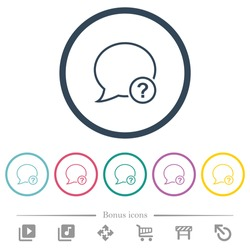 Message question outline flat color icons in round outlines. 6 bonus icons included.