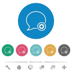 Message settings outline flat white icons on round color backgrounds. 6 bonus icons included.