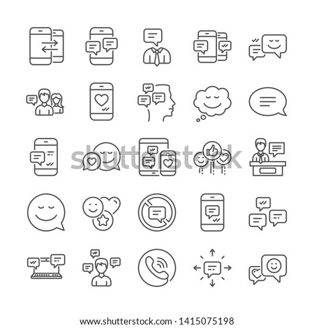 Message sms and Communication icons. Conversation, Group chat and Speech bubbles icons. SMS communication, Phone chat and Stop talking symbols. Conversation group, smartphone message, info. Vector
