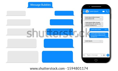 Message speech bubble for text on phone. Mockup sms chat, conversation for mobile. Smartphone chatting with text box. Chat bubble UI. Messenger template isolated background. design vector illustration Stock fotó ©