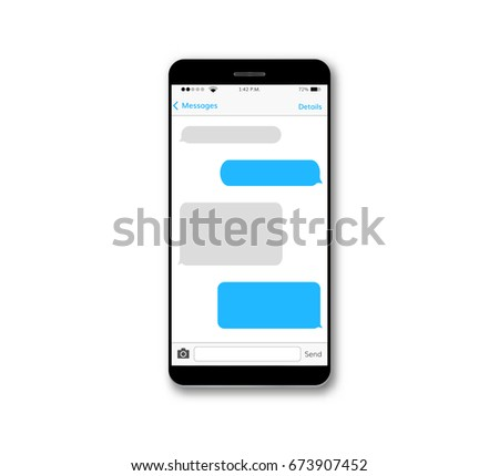 Message text box mobile phone screen chat bubble set smartphone conversation dialog viber