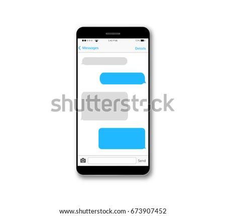 Message text box mobile phone screen chat bubble set smartphone conversation dialog viber