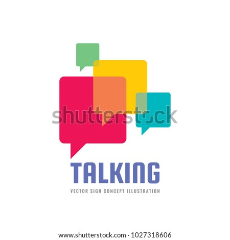 Message - vector logo template concept illustration in flat style. Talking chat creative sign. Social media abstract symbol. Dialogue communication icon. Speech bubble. Graphic design element.