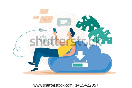Messages Backup Online Service Flat Vector Concept. Man Sitting on Cloud with Cellphone, Messaging, Chatting in Social Network, Downloading and Sharing Files with Friends in Internet Illustration