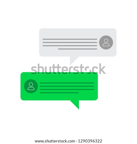 Messages on screen - person's avatars - messaging interface - vector illustration