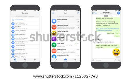 Messaging App Telegram Messenger UI and UX Concept Realistic Flat Vector Mockup in Minimalist Classic Theme on Smart Phone Screen. Social Network Design Template