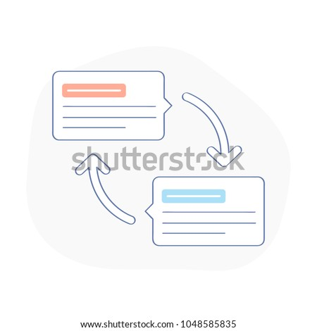 Messaging, chatting, conversation, question and answer, message exchange, chat messages notifications, sharing contacts concept or chat dialog clouds with arrows. Flat outline vector illustration.